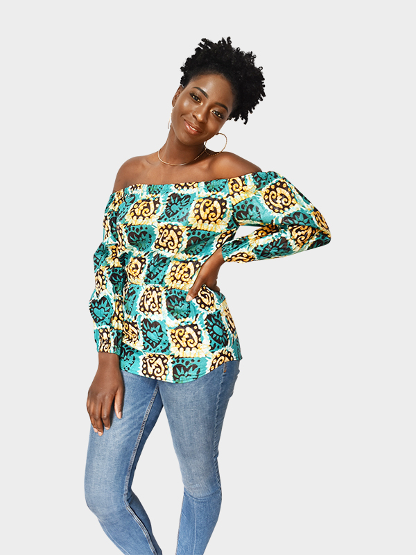off the shoulder batik fabric top with yellow, blue, and green hues made in Niger