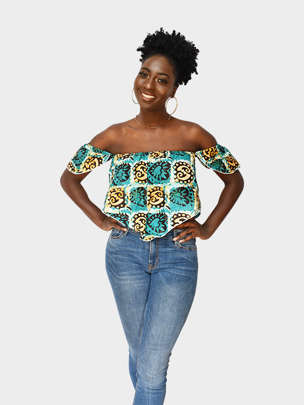 Off the shoulder blue and yellow crop top that is made in Niger